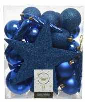 Feest 33x kobalt blauwe kerstballen met ster piek 5 6 8 cm kunststof m