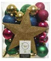 Feest 33x kunststof kerstballen goud blauw roze groen inclusief piek