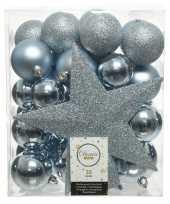 Feest 33x lichtblauwe kerstballen met ster piek 5 6 8 cm kunststof mi