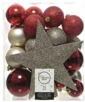Feest 33x rood champagne bruin kerstballen met piek 5 6 8 cm kunststof