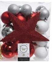 Feest 33x rood wit zilveren kerstballen met piek 5 6 8 cm kunststof