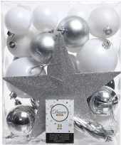 Feest 33x wit zilveren kerstballen met piek 5 6 8 cm kunststof