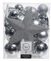 Feest 33x zilveren kerstballen met ster piek 5 6 8 cm kunststof mix
