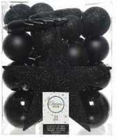 Feest 33x zwarte kerstballen met ster piek 5 6 8 cm kunststof mix