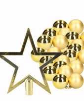 Feest 36 gouden kerstballen en goudkleurige kerstster piek