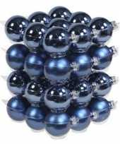 Feest 36x blauwe glazen kerstballen 6 cm mat glans