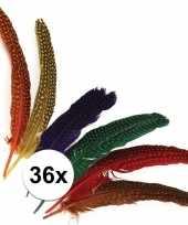 Feest 36x decoratieve veren met stippen