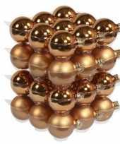 Feest 36x koperen glazen kerstballen 6 cm mat glans