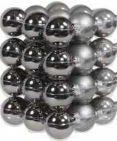 Feest 36x titanium grijze glazen kerstballen 4 cm mat glans