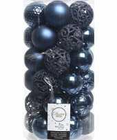 Feest 37x donkerblauwe kerstballen 6 cm kunststof mix