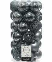 Feest 37x grijsblauwe kerstballen 6 cm kunststof mix