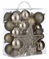Feest 39x kunststof kerstballen 8 cm met ster piek licht champagne