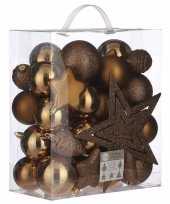 Feest 39x kunststof kerstballen 8 cm met ster piek licht koper