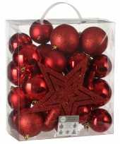 Feest 39x kunststof kerstballen 8 cm met ster piek rood