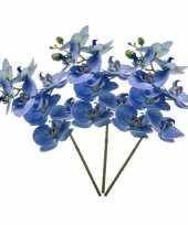 Feest 3x blauwe phaleanopsis vlinderorchidee kunstbloemen 70 cm
