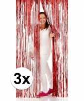 Feest 3x disco folie deurgordijnen rood