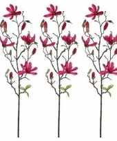 Feest 3x fuchsia roze magnolia beverboom kunsttak kunstplant 80 cm