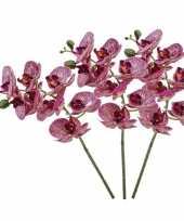 Feest 3x fuchsia roze phaleanopsis vlinderorchidee kunstbloemen 70 cm