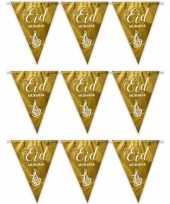 Feest 3x gouden eid mubarak thema vlaggenlijnen slingers 6 meter