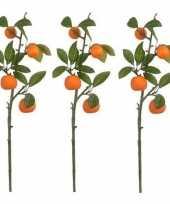 Feest 3x groen oranje sinaasappelboom fruitboom kunsttak kunstplant 65