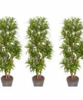 Feest 3x groene dracaena reflexa kunstplanten 120 cm voor binnen