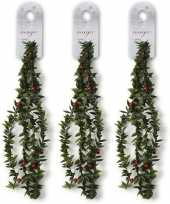 Feest 3x groene dunne kerst slingers met rode versiering 150 cm