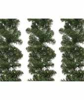 Feest 3x groene kerst dennenslinger guirlande imperial met licht 270cm