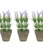 Feest 3x groene lilapaarse lavandula lavendel kunstplanten 25 cm in po