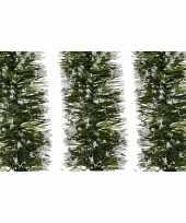 Feest 3x groene sneeuw kerstslinger 7 x 200 cm kerstboom versieringen