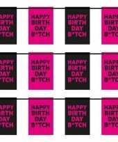 Feest 3x happy birthday b tch vlaggenlijnen 6 m