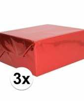 Feest 3x holografische rood metallic folie inpakpapier 70 x 150 cm