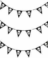 Feest 3x horror schedel vlaggenlijn slinger 360 cm halloween decoratie