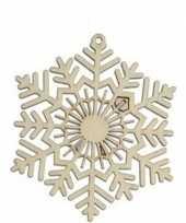 Feest 3x houten sneeuwvlok type 2 kerstversiering hangdecoratie 10 cm