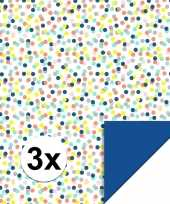 Feest 3x inpakpapier cadeaupapier confetti 200 x 70 cm gekleurd