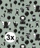 Feest 3x inpakpapier cadeaupapier happy animals 200 x 70 cm