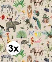 Feest 3x inpakpapier cadeaupapier jungle 200 x 70 cm