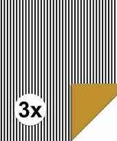 Feest 3x inpakpapier cadeaupapier streepjes 200 x 70 cm zwart wit