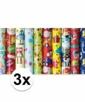 Feest 3x inpakpapier kinder verjaardag met piraten 200 x 70 cm