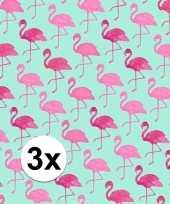 Feest 3x inpakpapier met flamingo motief 200 x 70 cm op rol type 2
