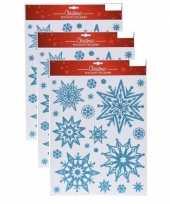 Feest 3x kerst raamstickers raamdecoratie sneeuwvlok plaatjes