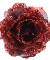 Feest 3x kerstboom decoratie roos rood 14 cm