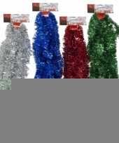 Feest 3x kerstboom kerstversiering tinsel blauw 500 x 5 cm