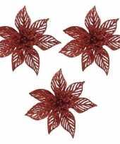 Feest 3x kerstboomversiering op clip rode glitter bloem 23 x 5 cm
