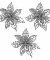 Feest 3x kerstboomversiering op clip zilveren glitter bloem 23 cm