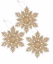 Feest 3x kersthanger sneeuwvlok goud glitter type 3