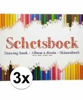 Feest 3x kinder teken schets boeken a4 10138971