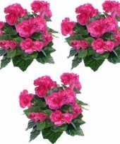Feest 3x kunstplanten begonia roze 30 cm