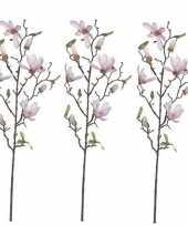 Feest 3x licht roze magnolia beverboom kunsttak kunstplant 80 cm
