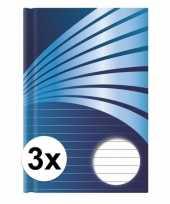 Feest 3x luxe schrift a4 formaat blauwe harde kaft