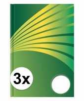 Feest 3x luxe schrift a4 formaat groene harde kaft